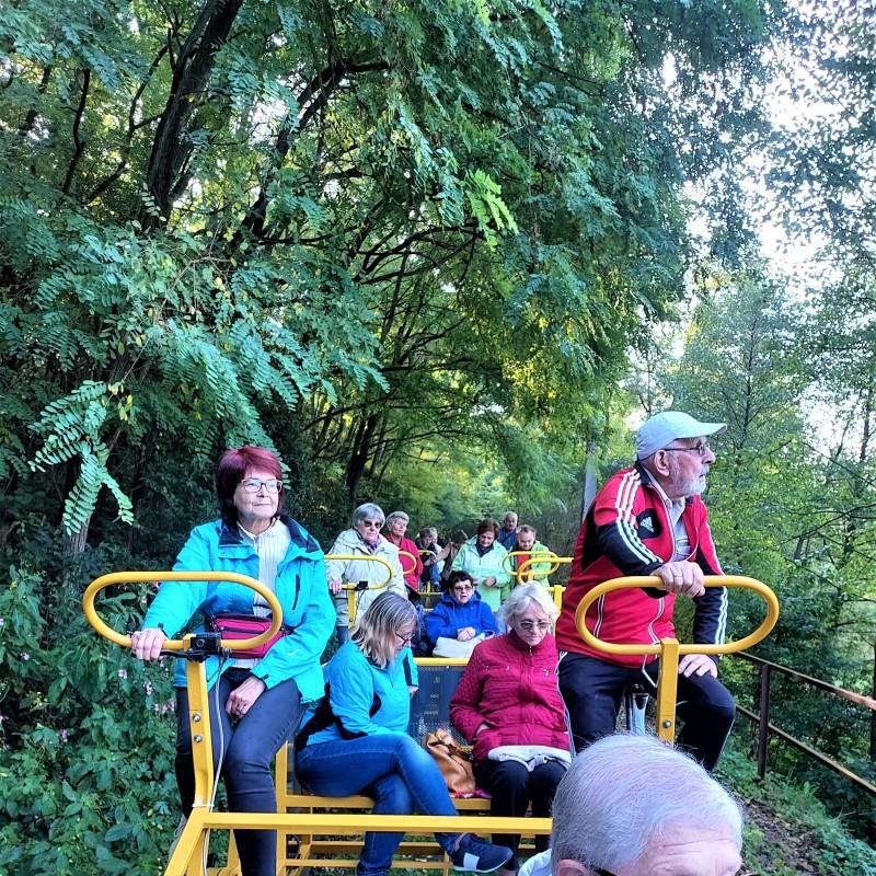 Zdjęcie nr 3: Grupa ludzi jadąca żółtą drezyną. W tle las.